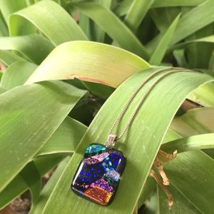 Glass Multicolor Glitter Square Necklace Pendant